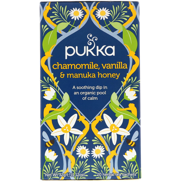 Pukka Herbs, Chamomile, Vanilla & Manuka Honey Tea, Caffeine Free, 20 Herbal Tea Sachets, 1.12 oz (32 g)