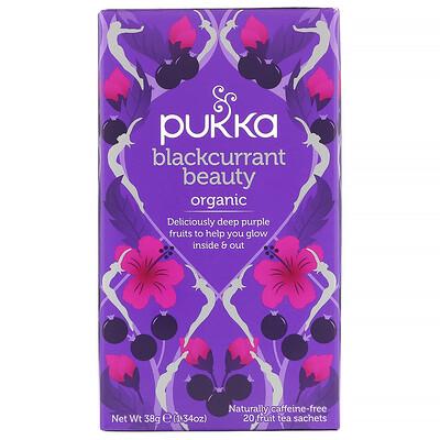 Купить Pukka Herbs Blackcurrant Beauty, органический чай с черной смородиной, без кофеина, 20пакетиков с фруктовым чаем, 38г (1, 34унции)