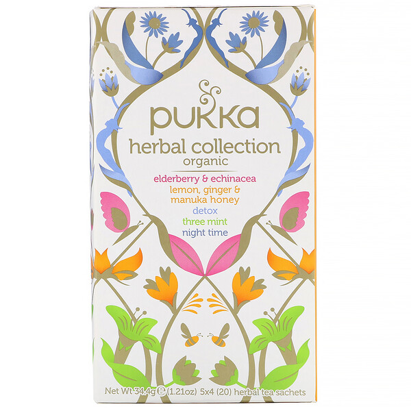 Pukka Herbs, Organic Herbal Tea Collection, 20 Herbal Tea Sachets, 1.21 oz (34.4 g)