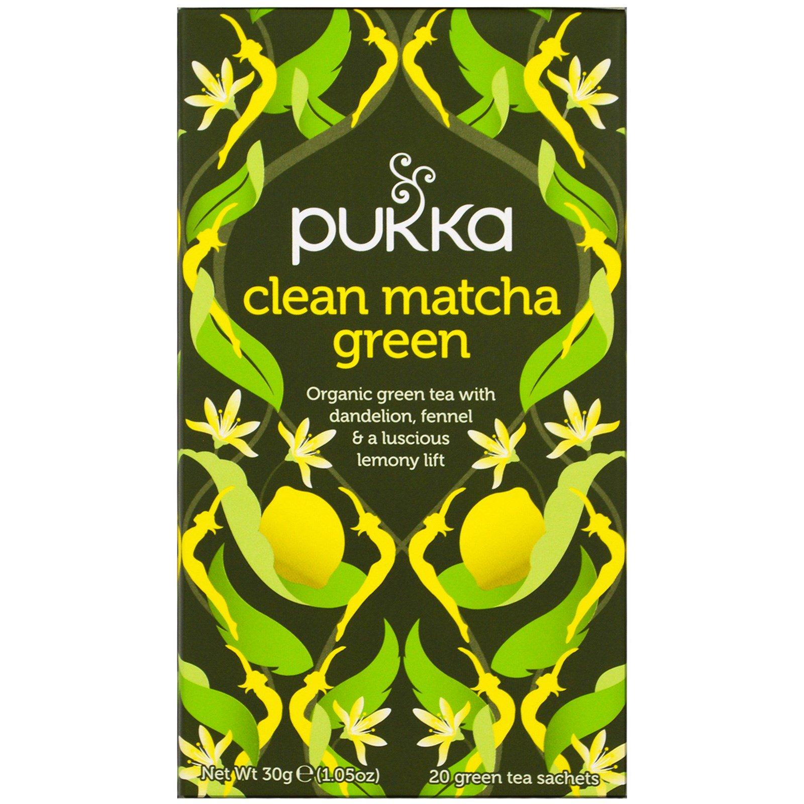 Pukka Herbs, Зеленый чай маття, 20 пакетиков зеленого чая, 1,5 г (0,05 унций) каждый