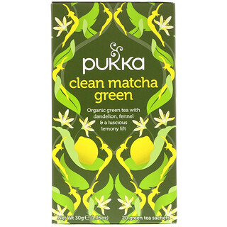 Pukka Herbs, Clean Matcha Green, 20 Green Tea Sachets, 0.05 oz (1.5 g) Each