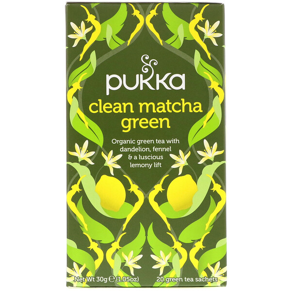 Clean Matcha Green, 20 Green Tea Sachets, 0.05 oz (1.5 g) Each