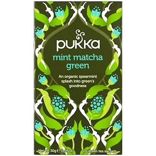 Pukka Herbs, Mint Matcha Green Tea, 20 Green Tea Sachets, 0.05 oz (1.5 g) Each