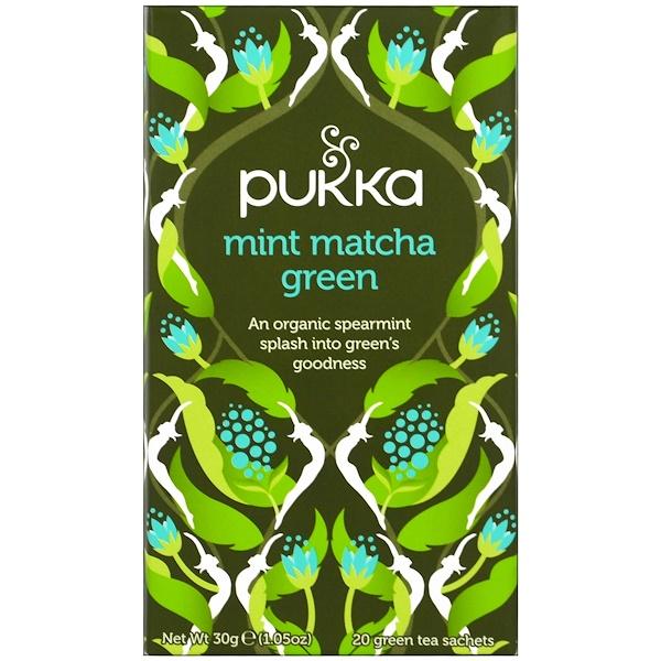 Pukka Herbs, Зеленый чая маття с мятой, 20 пакетиков зеленого чая, 1,5 г (0,05 унций) каждый