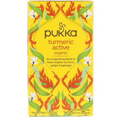 Купить Pukka Herbs Органическая активная куркурма, без кофеина, 20 пакетиков-саше с травяным чаем, 1, 27 унц. (36 г)