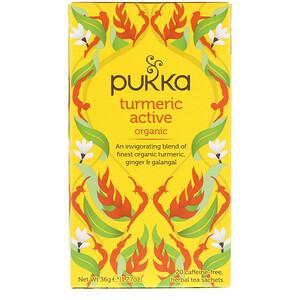 Пукка хербс, Organic Turmeric Active, Caffeine Free, 20 Herbal Tea Sachets, 1.27 oz (36 g) отзывы покупателей
