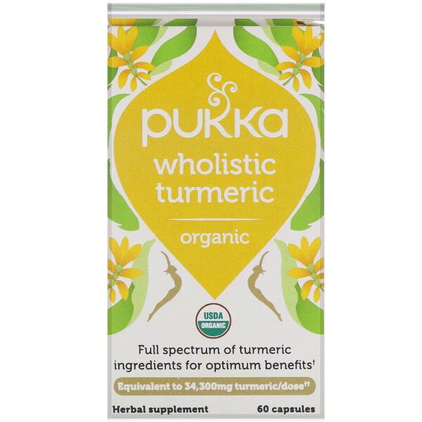 Pukka Herbs, Organic Wholistic Turmeric, 60 Capsules