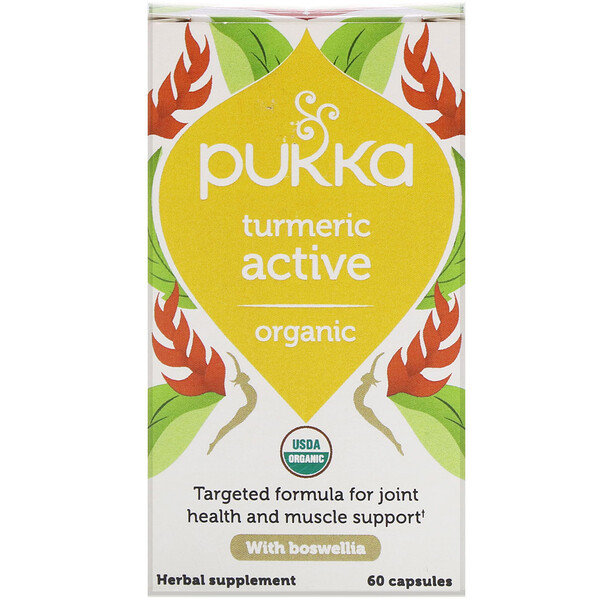 Pukka Herbs, כורכום אורגני פעיל, 60 כמוסות