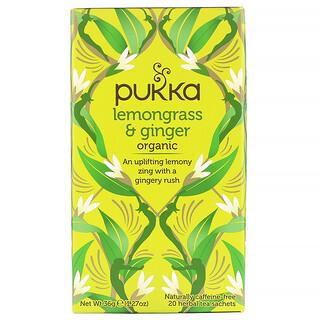 Pukka Herbs, Органическая смесь лемонграсса и имбиря, без кофеина, 20пакетиков с травяным чаем, 36г