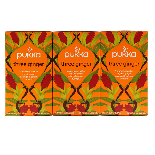 Pukka Herbs, Three Ginger Herbal Tea, Caffeine-Free, 3 Pack, 20 Herbal Tea Sachets Each (Discontinued Item)