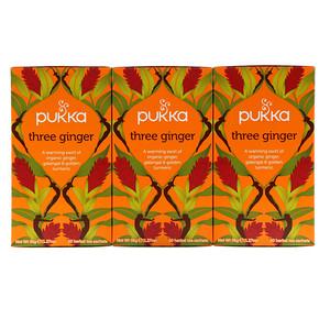 Пукка хербс, Three Ginger Herbal Tea, Caffeine-Free, 3 Pack, 20 Herbal Tea Sachets Each отзывы покупателей