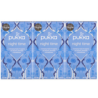 Pukka Herbs, Night Time Tea, Caffeine-Free, 3 Pack, 20 Herbal Tea Sachets Each