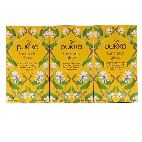 Pukka Herbs, Turmeric Glow Tea, 3 Pack, 20 Herbal Tea Sachets Each (Discontinued Item)