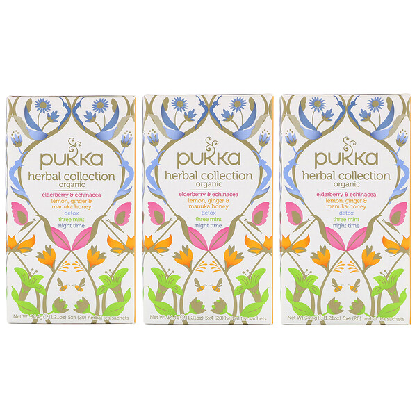 Pukka Herbs, شاي عشبي عضوي، خالي من الكافيين، 3 عبوات، 20 كيس شاي عشبي بكل عبوة (Discontinued Item)