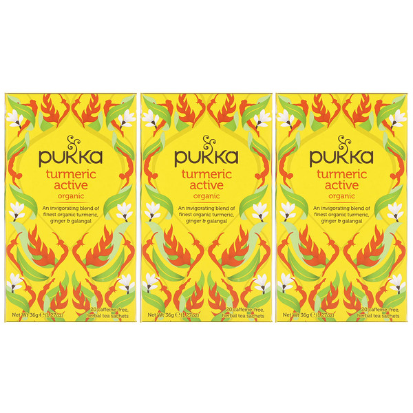 Pukka Herbs, Organic Turmeric Active, Caffeine-Free, 3 Pack, 20 Herbal Tea Sachets Each (Discontinued Item)