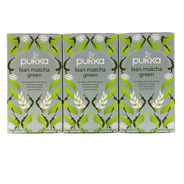 Pukka Herbs, Lean Matcha Green, 3 Pack, 20 Herbal Tea Sachets Each