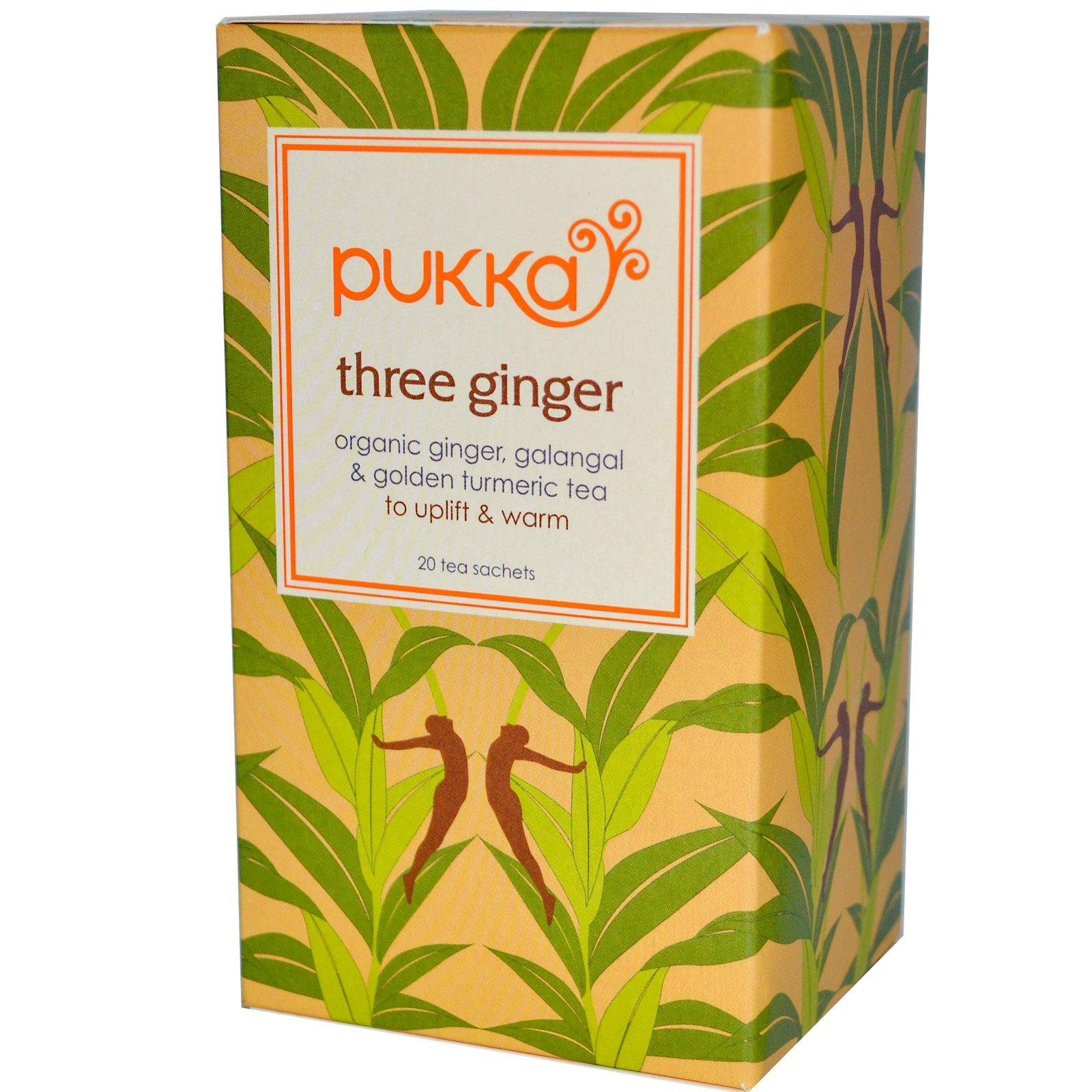 26bf8239fc0e Pukka Herbs, Three Ginger, Libre de cafeína, 20 sachets de té, 1.27 ...