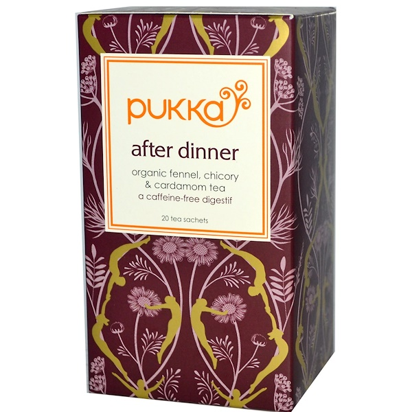 Pukka Herbs, After Dinner, Organic Fennel, Chicory & Cardamom Tea, Caffeine-Free, 20 Tea Sachets, 1.27 oz (36 g) (Discontinued Item)