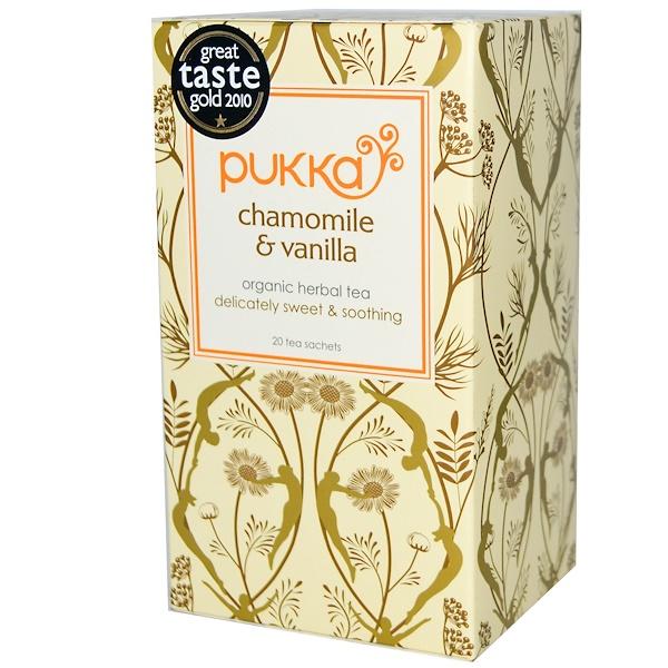 Pukka Herbs, Organic Herbal Tea, Chamomile & Vanilla, Caffeine Free, 20 Tea Sachets, 1.27 oz (36 g) (Discontinued Item)