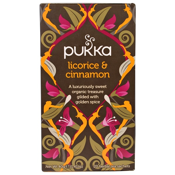 Pukka Herbs, Licorice & Cinnamon, 20 Herbal Teas, 1.41 oz (40 g) (Discontinued Item)