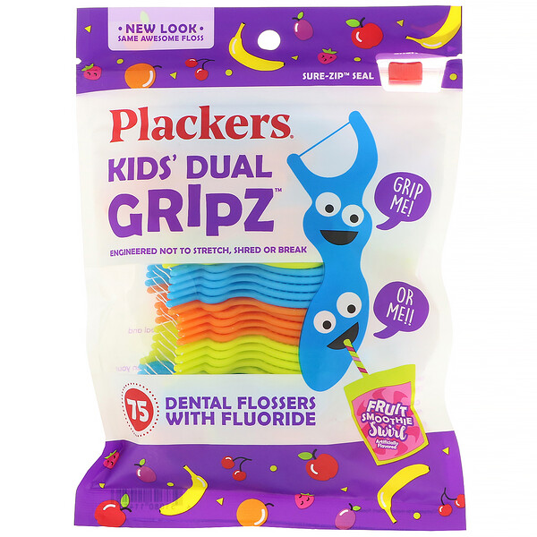 Kid's Dual Gripz, Dental Flossers with Fluoride, Fruit Smoothie Swirl, 75 Count