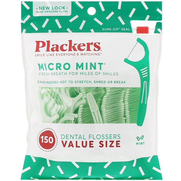 Micro Mint, Dental Flossers, Value Size, Mint, 150 Count