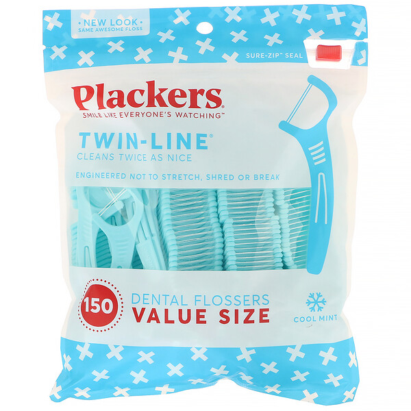 Twin-Line, Dental Flossers, Value Size, Cool Mint, 150 Count