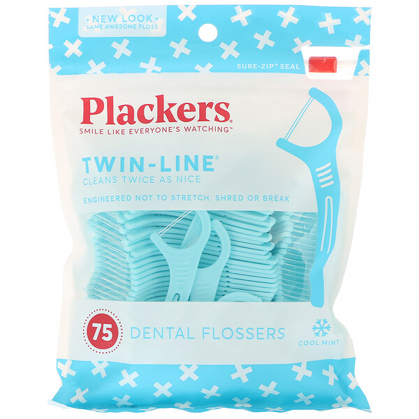 Plackers, Twin-Line, Dental Flossers, Cool Mint, 75 Count