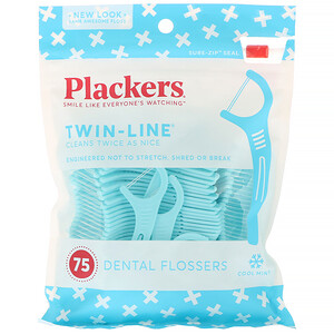 Plackers, Twin-Line, Dental Flossers, Cool Mint, 75 Count отзывы покупателей