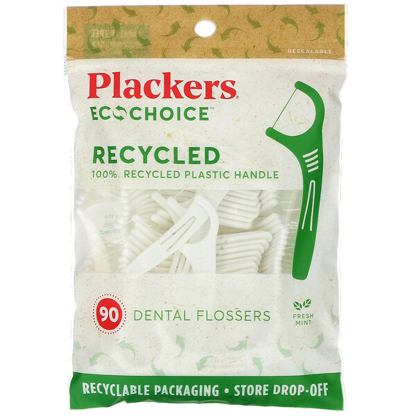 Plackers, EcoChoice, Dental Flossers, Fresh Mint, 90 Count
