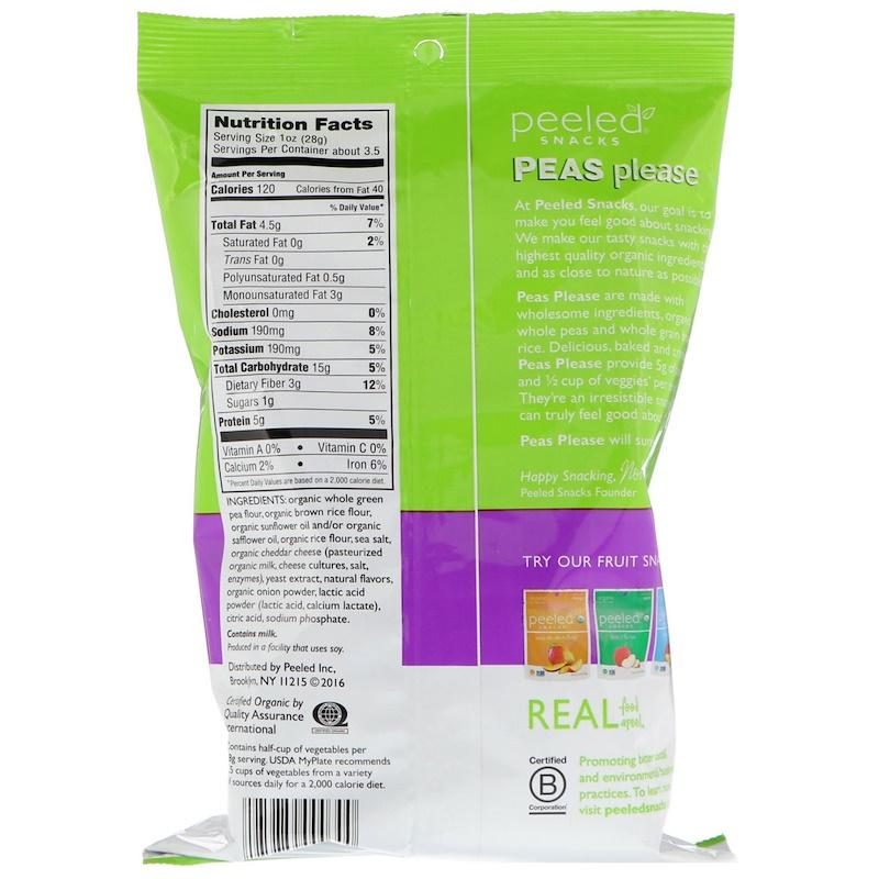 Peeled Snacks, Organic Peas Please, White Cheddar, 3.3 oz (94 g) - photo 1