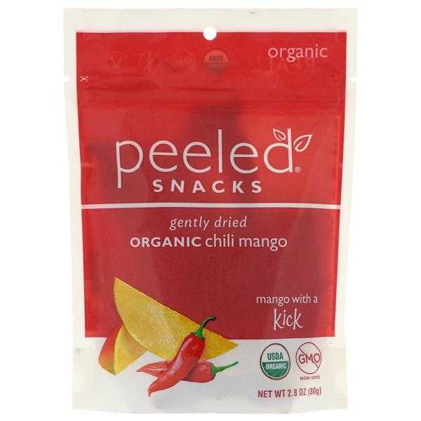 Peeled Snacks, Gently Dried Organic Chili Mango, 2.8 oz (80 g)