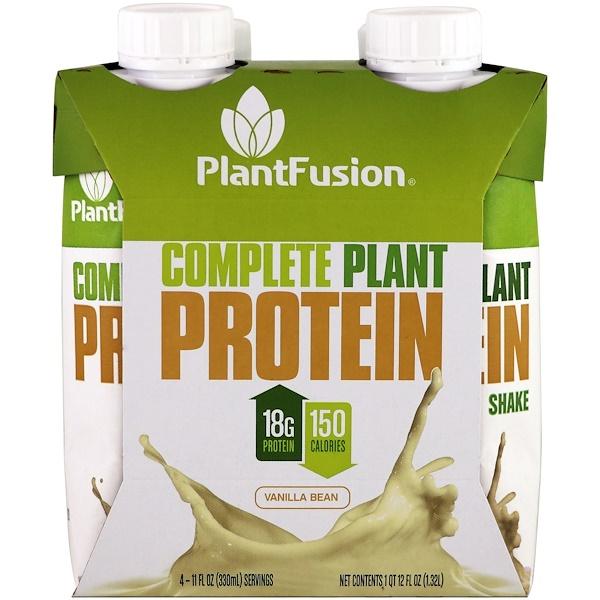 PlantFusion, 全植物蛋白,香草豆味,4 包,每包 11 液體盎司(330 毫升)