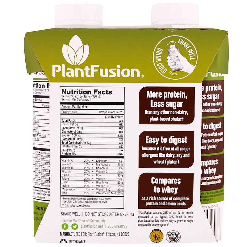 PlantFusion, Complete Plant Protein, Chocolate, 4 Pack, 11 fl oz. (330 ml) Each - photo 1