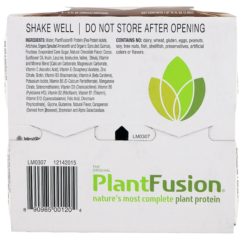 PlantFusion, Complete Plant Protein, Chocolate, 4 Pack, 11 fl oz. (330 ml) Each - photo 2