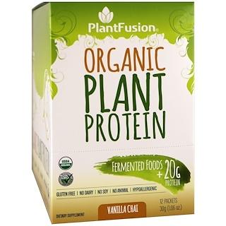 PlantFusion, Organic Plant Protein, Vanilla Chai, 12 Packets, 1.06 oz (30 g) Each