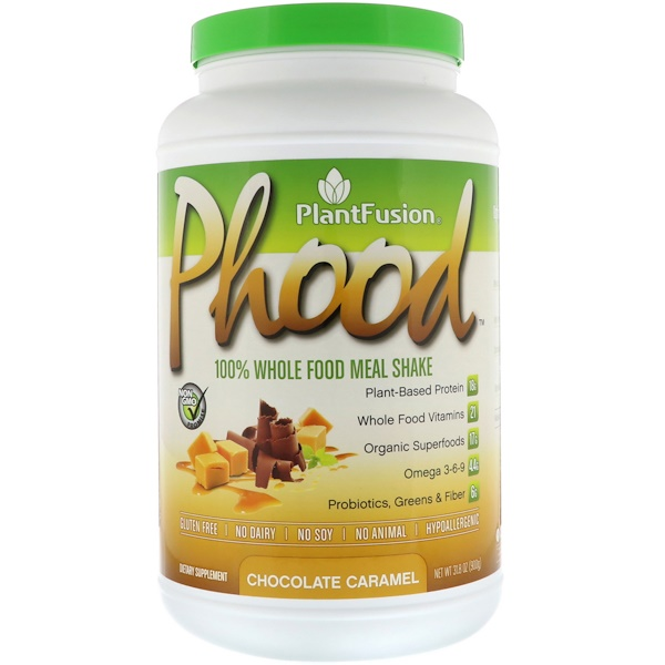 PlantFusion, Phood, 100% Whole Food Meal Shake, Chocolate Caramel, 31.8 oz (900 g) (Discontinued Item)