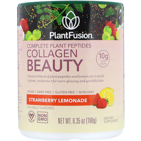PlantFusion, Complete Plant Peptides, Collagen Beauty, Strawberry Lemonade, 6.35 oz (180 g)