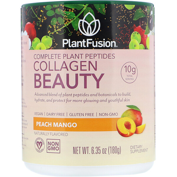 PlantFusion, Complete Plant Peptides, Collagen Beauty, Peach Mango, 6.35 oz (180 g)