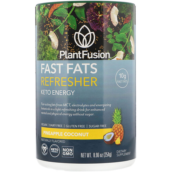 PlantFusion, Fast Fats Refresher, Keto Energy, Pineapple Coconut, 8.96 oz (254 g)