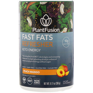 PlantFusion, Fast Fats Refresher, Keto Energy, Peach Mango, 9.17 oz (260 g)