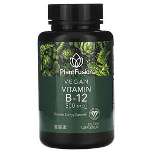 PlantFusion, Vegan Vitamin B-12, 500 mcg, 100 Tablets'