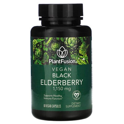 Купить PlantFusion Vegan Black Elderberry, 1, 150 mg, 60 Vegan Capsules