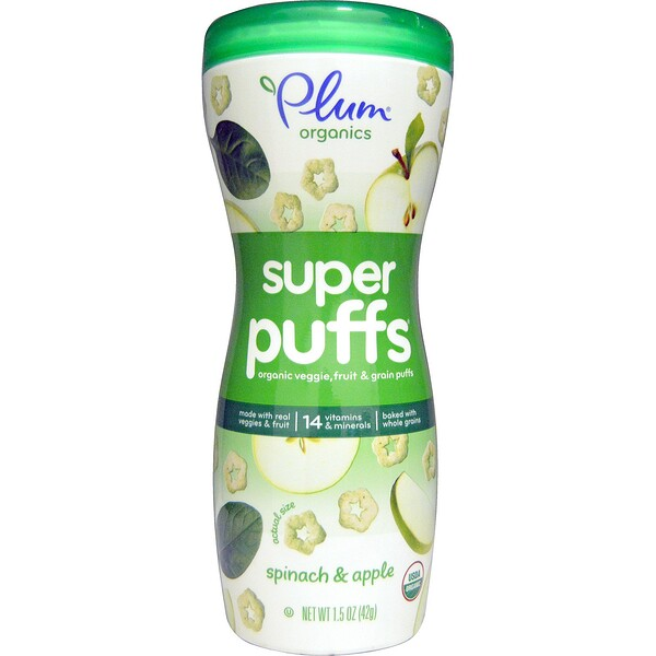 Super Puffs, Organic Veggie, Fruit & Grain Puffs, Spinach & Apple, 1.5 oz (42 g)