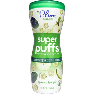 Плам Органикс, Super Puffs, Organic Veggie, Fruit & Grain Puffs, Spinach & Apple, 1.5 oz (42 g) отзывы покупателей