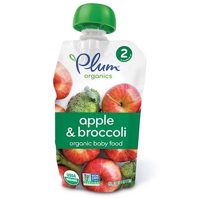 Plum Organics 有機嬰兒食品,第2階段,蘋果和西蘭花,4盎司(113克)