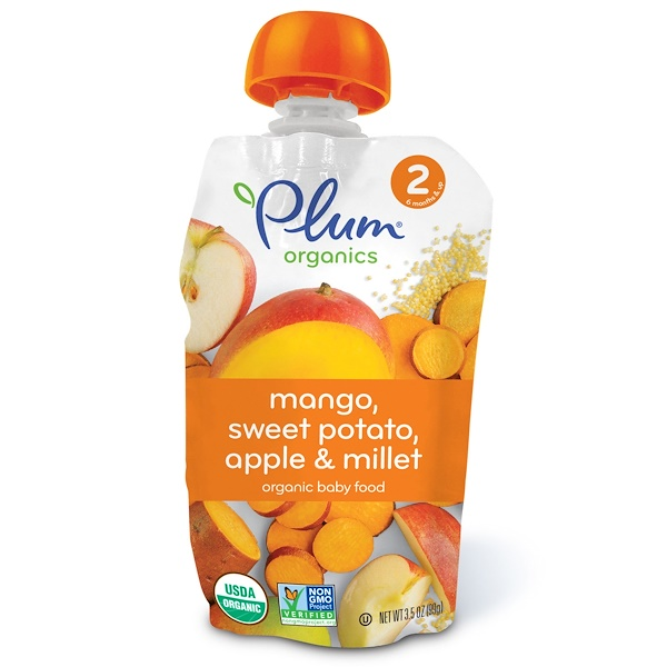 Plum Organics, Organic Baby Food, Stage 2, Mango, Sweet Potato Apple & Millet, 3.5 oz (99 g) (Discontinued Item)