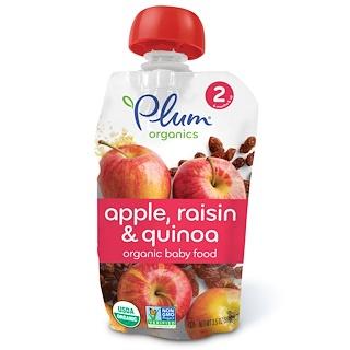 Plum Organics, ベビーフード、ステージ2、リンゴ&レーズン&キヌア、3.5 oz (99 g)