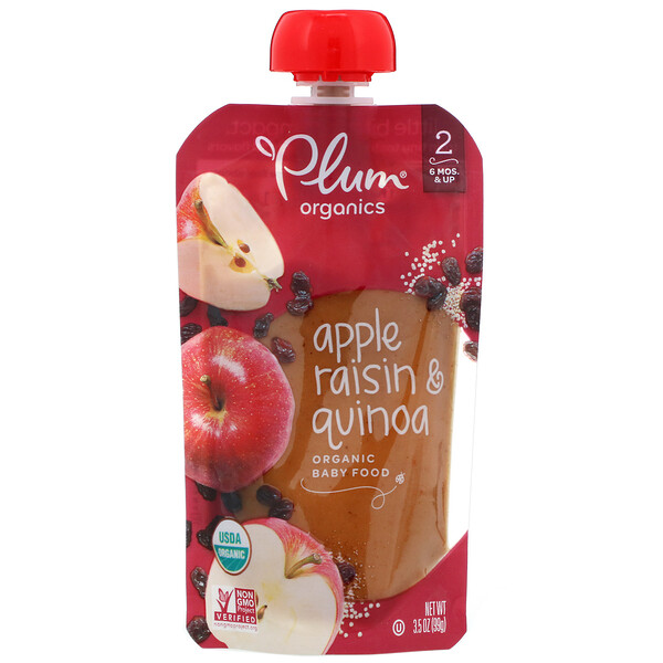 Organic Baby Food, Stage 2, Apple Raisin & Quinoa, 3.5 oz (99 g)