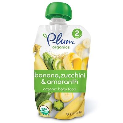 Plum Organics 有機嬰兒食品,第2階段,香蕉、西葫蘆和莧菜,3.5盎司(99克)